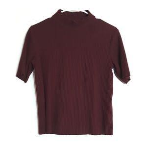 Bershka maroon ribbed 1/2 sleeve knit top